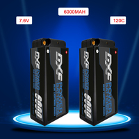 DXF lipo Batterie 2S Shorty Lipo 7 6 V 6000mAh 120C RC mit 4mm Bul