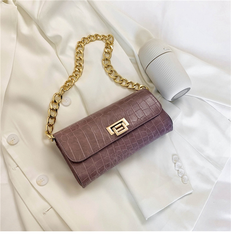 Crocodile Pattern Vintage Soild Color Small Square Bag For Women 2020 summer Handbag And Small Chain Bags Fashion Armpit Bag (20)