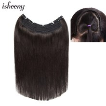 """""""Isheeny 14"""""""" 18"""""""" 22"""""""" Clip In One Piece Brazilian Hair Clips Tic Tac 5 clips Remy Hair piece Straight Clip Human Hair Extensions"""""""