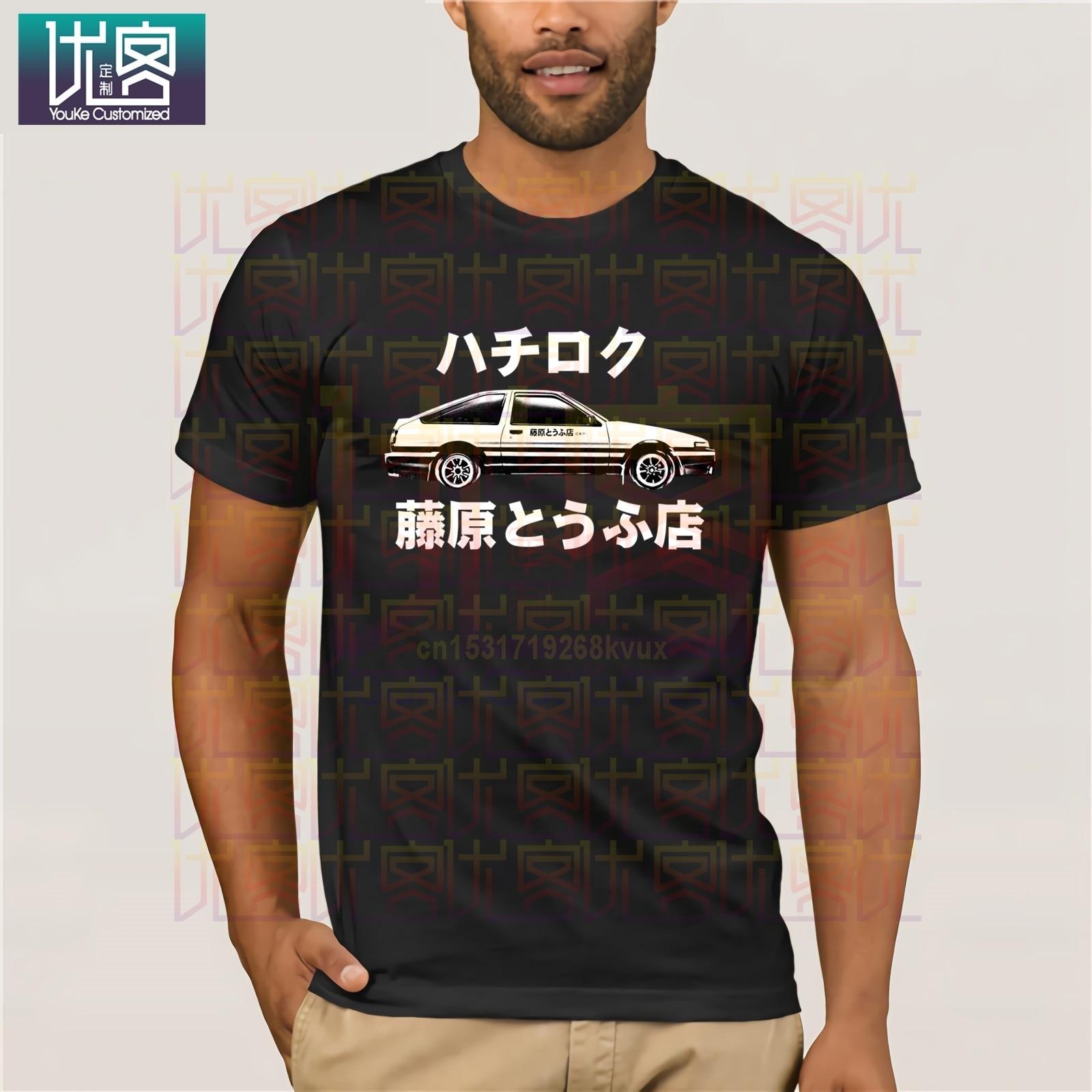패션 프린트 라운드 남자 티셔츠 이니셜 D 셔츠 Ae86 티셔츠 Trueno Hachiroku Drift Corolla Sprinter Tee Shirt