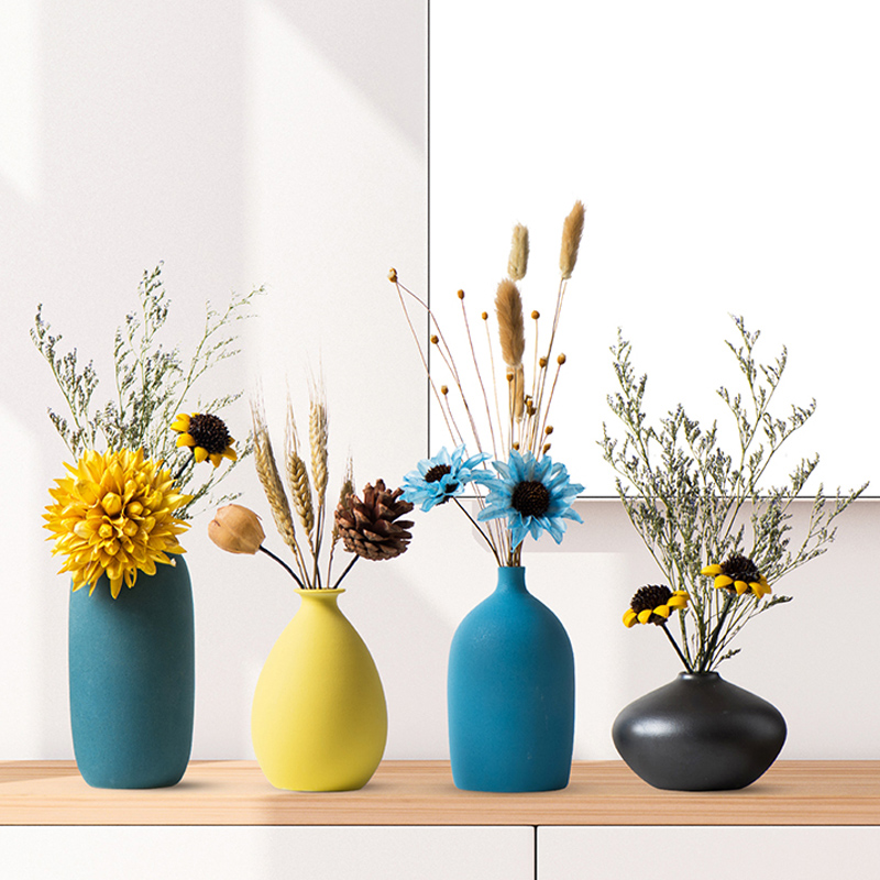 Nordic Small Vase Decoration Modern Grind Ceramic Vases Tabletop Ceramic Arts Vase Home Decoration Accessories Blue Gray Black