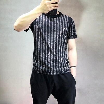 Livraison gratuite hommes strass rayure à manches courtes noir mode t-shirt/fête/scène/bling style