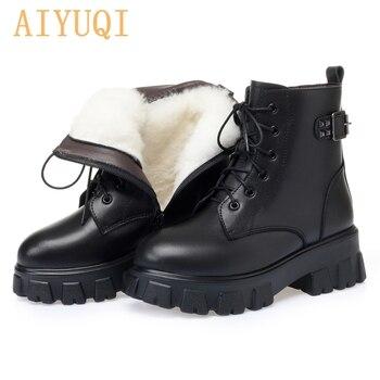 AIYUQI Genuine Leather Martin Boots Women 2020 New Winter boots Women Wool Warm Platform Fashion Short Boots Women aiyuqi winter ankle boots women 2020 new high heels women boots genuine leather wool fashion platform female office boots