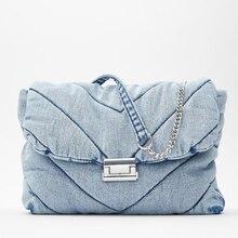 Women's Bag Handbag-Chain Quilting Crossbody-Bags Tote-Bag Denim Vintage Fashion Big