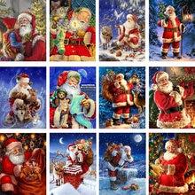 Amtmbs краска по номерам Санта Клаус картинки diy Безрамная