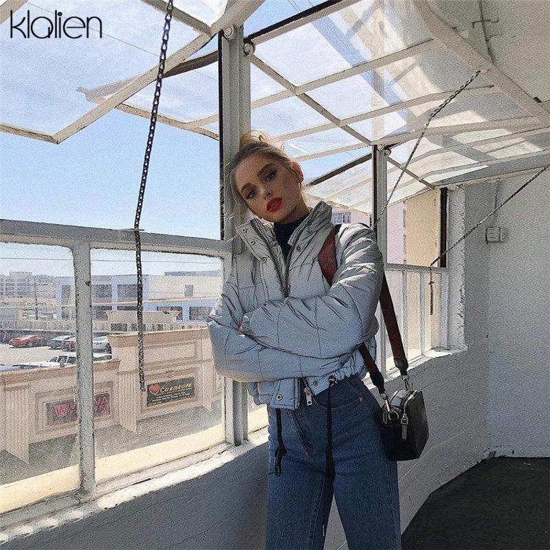 KLALIEN Winter Fashion Reflective Short Women Coat Jackets 2019 High Waist Zipper Fly Pockets Female Casual Thick Warm Clothing