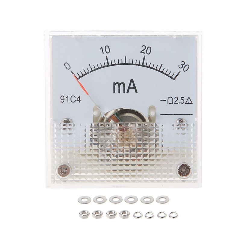 91C4 Ammeter DC Analog Current Meter Panel Mechanical Pointer Type 1/2/3/5/10/20/30/50/100/200/300/500mA A L69A