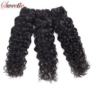 "Image 3 - סוויטי מים גל חבילות הודי תוספות שיער 8 "" 28"" טבעי שחור שיער טבעי Weave חבילות 1/3 /4 חתיכות ללא רמי שיער"