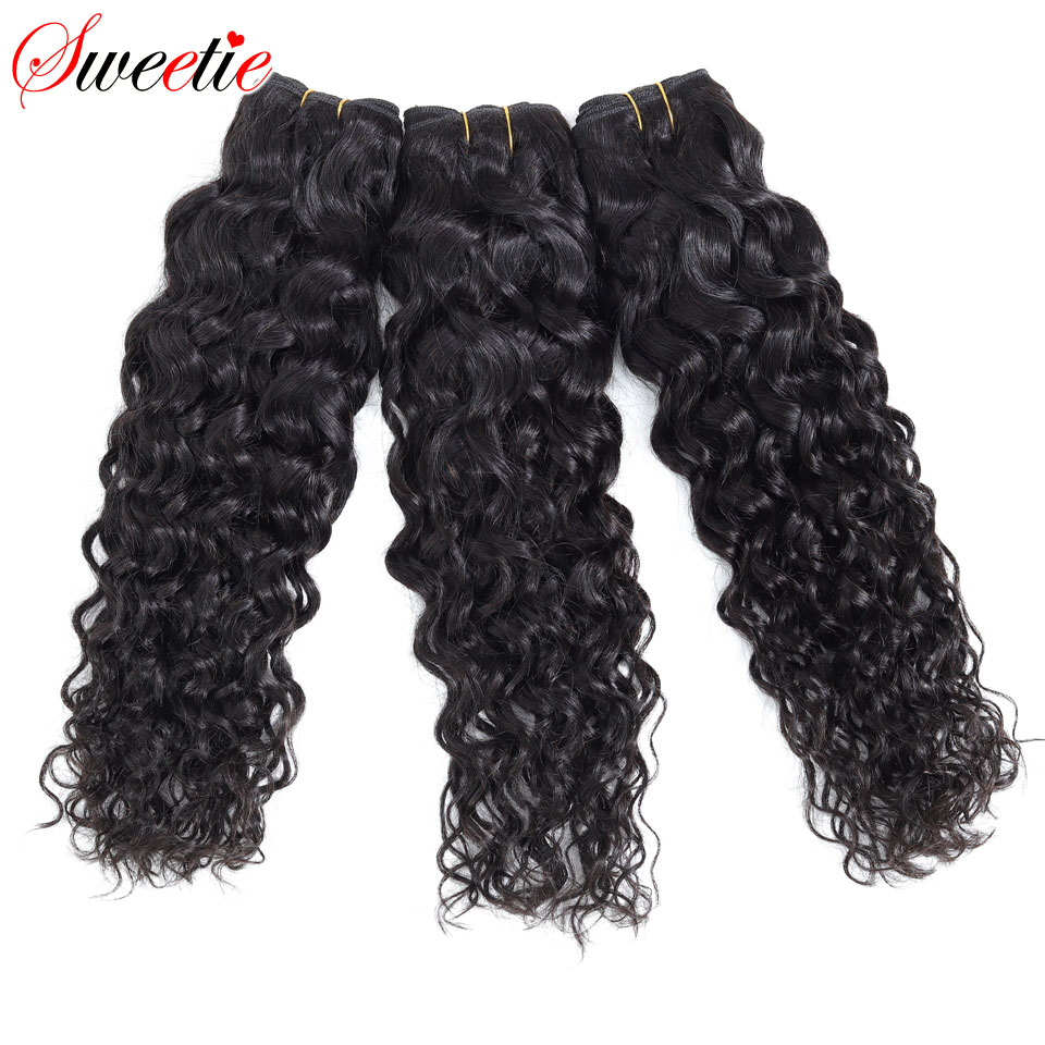 "Image 3 - Sweetie Water Wave Bundles Indian Hair Extensions 8"" 28"" Natural Black Human Hair Weave Bundles 1/3/4 Pieces Non Remy Hair-in Hair Weaves from Hair Extensions & Wigs"