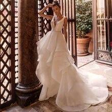 Атласные свадебные платья a line фатиновые многоярусные Свадебные