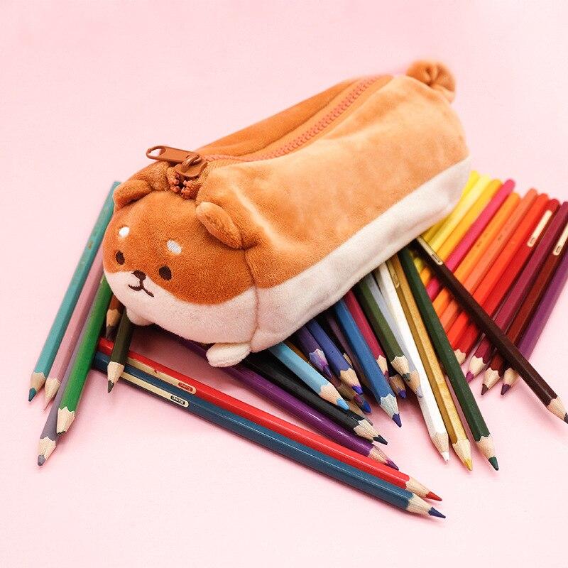 Brown Shiba Large Capacity Pencil Case Stationery Storage Bag Escalar Papelaria Escolar School Supplies