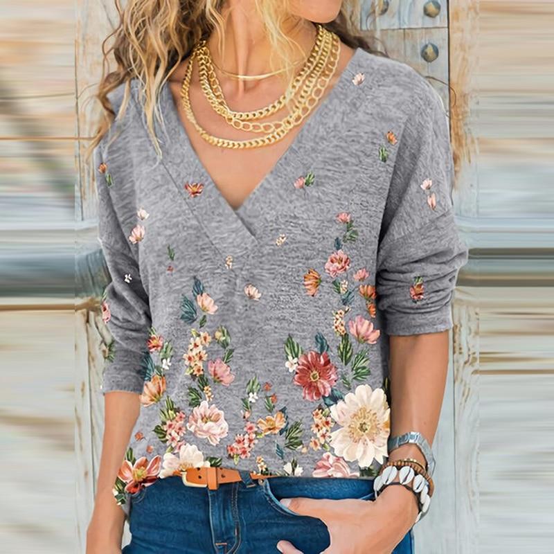 Kadın derin V boyun gömlek Tops kadın zarif baskılı kadın gömlek sonbahar Retro çiçek uzun kollu üst bayanlar bluz 2021