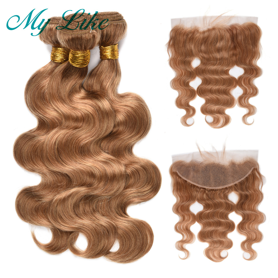 My Like Blonde Brazilian Body Wave Hair Weave Bundles With Frontal 13x4 Nonremy #27 Human Hair Bundles With Lace Frontal Closure