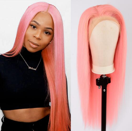 Pink Straight Lace Front Wigs For Women Brazilian 150% Density 360 Pink Lace Frontal Wig Straight Lace Front Human Hair Wigs