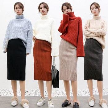 2020 spring and fall Women Long Skirt Elastic Waist Warm Knitted Straight Slim Elegant Black Pencil Skirts faldas jupe femme 6