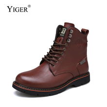 YIGER New Men martins boots man winter snow warm Trend black army lace-up casual male Military 0371