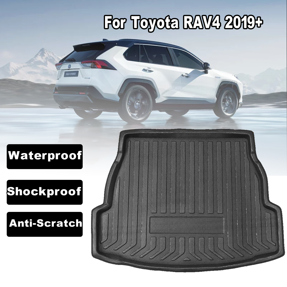 Car Rear Trunk Boot Liner Cargo Mat Luggage Tray Floor Carpet Mud Protector Replacement For Toyota RAV4 2019+ Car Accessories