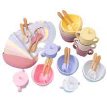 5 Pcs set Silicone Bowl Bibs cup Sets Baby BPA Free Waterproof Spoon NonSlip Feedings Silicone Bowl Tableware Baby Products