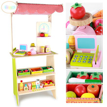 Supermarket Children's Simulated Wooden Cashier Large Booth Toys, Boys and Girls'Home Shop Suit