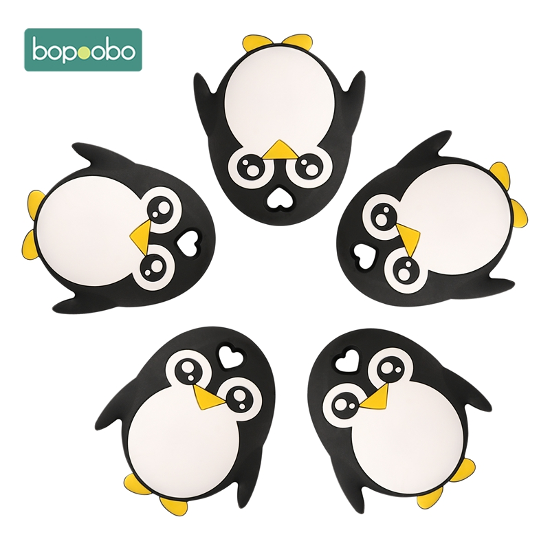 Bopoobo 1pc Baby Teether Bpa Free Silicone Penguin  Food Grade Chewable Nursing Teething Accessory Baby Products Newborn Holding