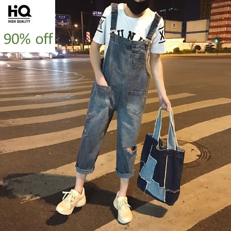 Hip Hop Style Mens Hole Ripped Jeans Overalls Casual Streetwear Ankle Length Cargo Pants Denim Suspenders Trousers Jeans Rompers