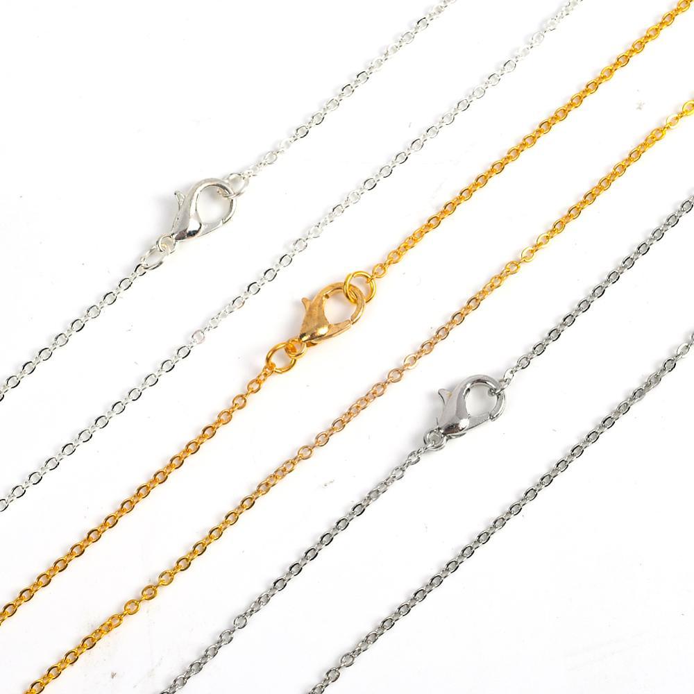 12 pz/lotto oro argento colore 40cm croce piatta o-catene per le donne semplice collana gioielli 2