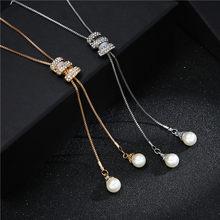 Collar de cadena larga con borlas de Metal brillantes de imitación, cristales y perlas, joyería para fiesta, otoño e invierno, 2020