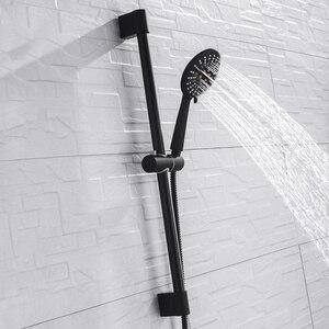 Image 2 - 벽 마운트 블랙 코팅 샤워 세트 손 샤워 스테인레스 스틸 호스 조절 슬라이딩 바