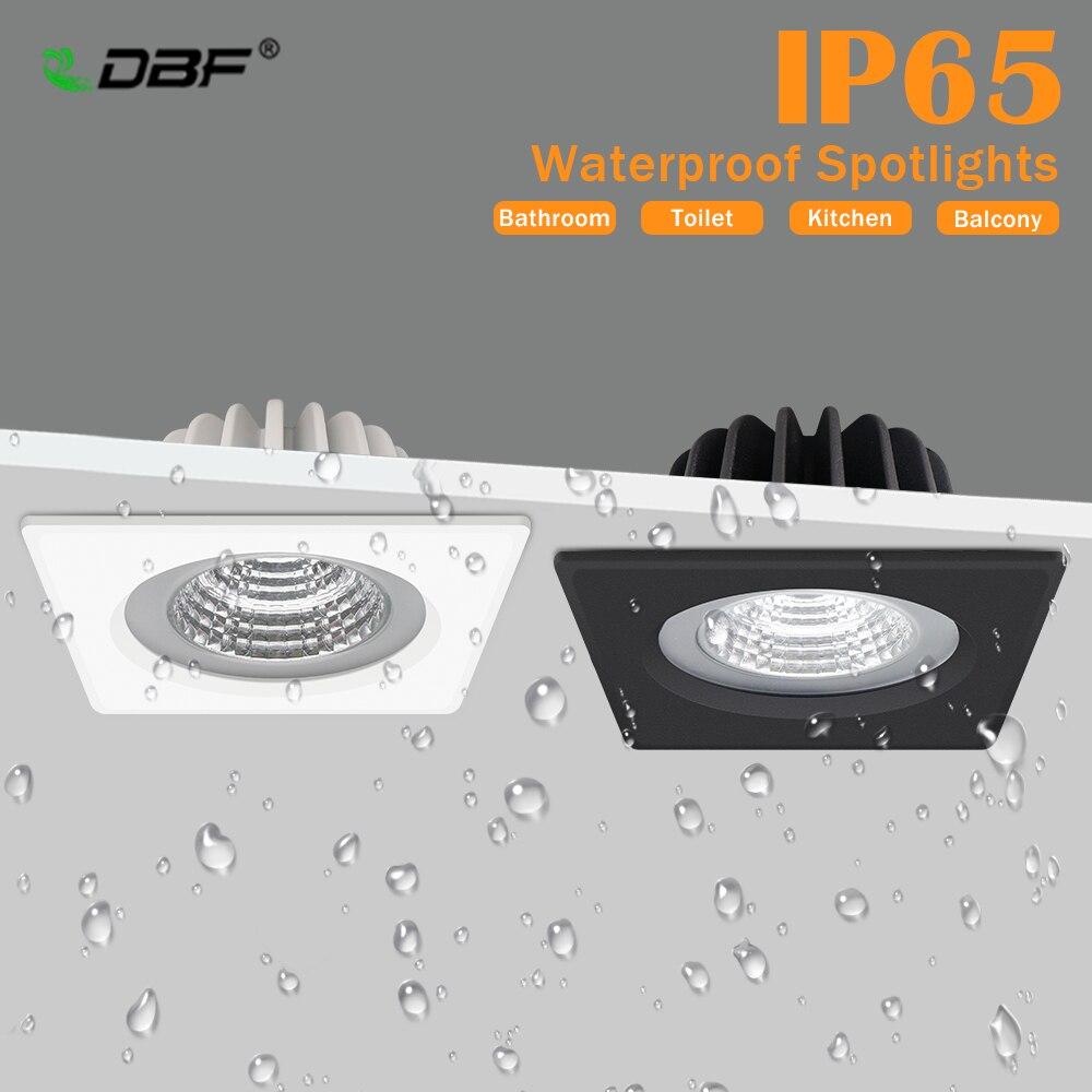 [DBF]IP65 Waterproof LED Spot Light 5W 7W 12W 15W Black/White Square Recessed Downlight  Bathroom Ceiling Lamp 3000K/4000K/6000K