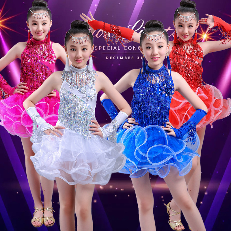 2019 New Girls Latin Dance Dresses Performance Clothing Professional Sequined Tassel Latin Dress Stage Dance Clothes For Kids