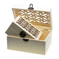 3 größe Vintage Blank Unfinished Holz Schmuck Box Organizer Lagerung Fall DIY Basis für Handgemachte Handwerk mit Geschnitzten Deckel