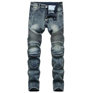 2020 AUTUMN Skateboard Spring Men's Ripped Street HIP HOP Punk Stretch Bike Jeans Trendy Holes Straight Denim Trouers
