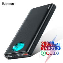 Baseus 20000 мАч Внешний аккумулятор Тип C PD Быстрая зарядка 3,0 20000 мАч Внешний аккумулятор для Xiaomi Mi iPhone портативное Внешнее зарядное устройство