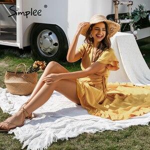 Image 3 - Simplee vestido com decote em v boho, de algodão, manga curta, de férias, praia, maxi vestido casual, cor lisa, amarelo, primavera/verão, envoltório