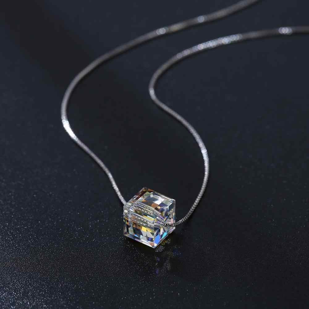 Ozdobione kryształy Swarovskiego wisiorek naszyjniki kolorowe koraliki dla kobiet ślub biuro biżuteria proste moda 2019