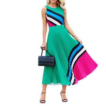 Elegant Sexy Sleeveless Geometric Print Pleated Dress Women 2020 Summer Casual Plus Size Slim Patchwork Long Party Dress S-5XL casual long sleeve geometric print plus size dress for women