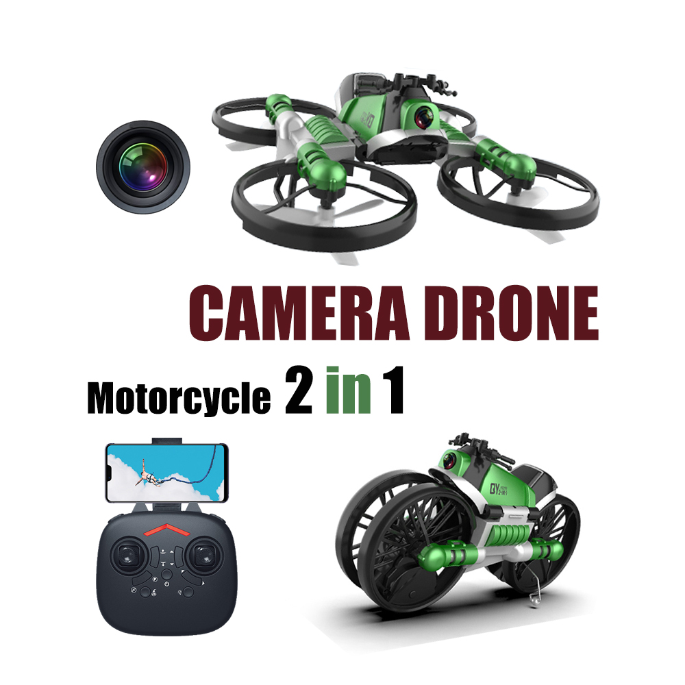 2.4G Rc Quadcopter Drone with Camera 2in1 Motorcycle Folding Remote Control Dron Deformation Quadrocopter Helicopter Toy for Kid image