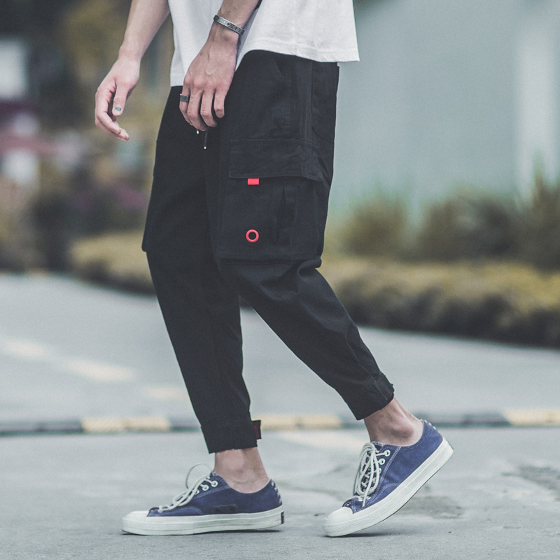 Popular Brand Velcro Ankle Banded Pants Bib Overall Hiphop Hip Hop Loose-Fit Capri INS Super Fire Pants Men's Shawn