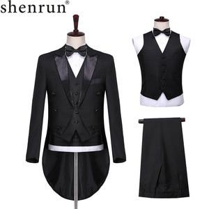Image 1 - Shenrun ผู้ชายคลาสสิก 3 ชิ้น Tailcoat สีดำสีขาวงานแต่งงาน Tuxedo เจ้าบ่าวสูทธุรกิจ Party Prom นักร้องนักเต้น Host ชุดเวที