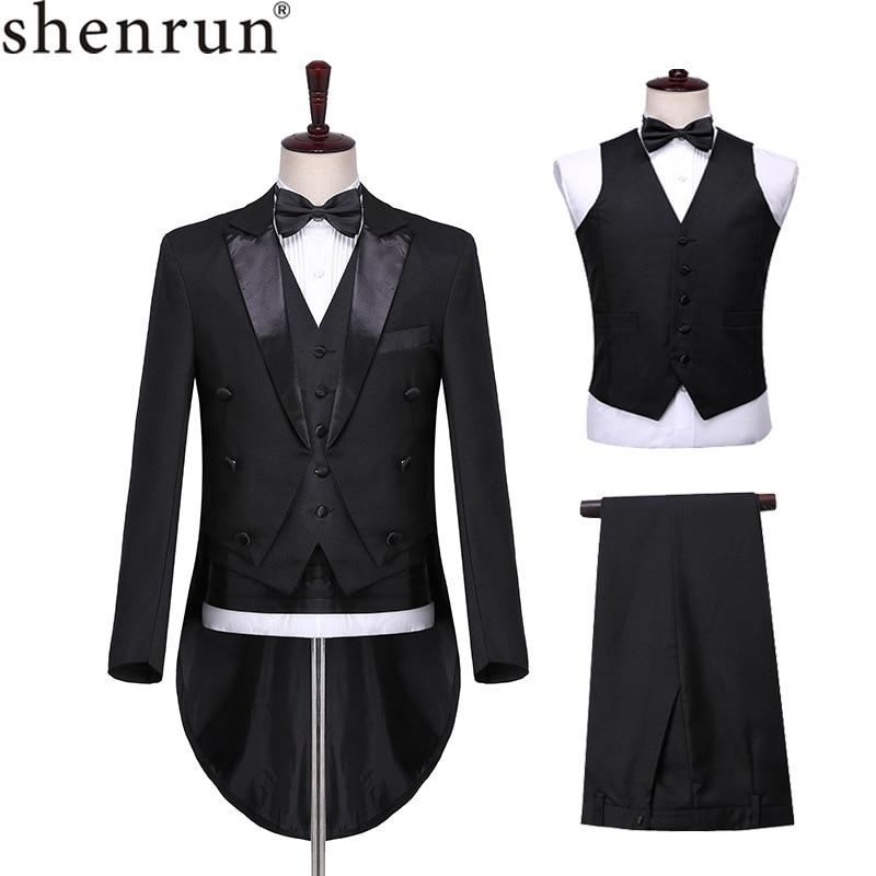 Shenrun Men Classic 3 Pieces Tailcoat Black White Wedding Tuxedo Groom Suit Business Party Prom Singer Dancer Host Stage Dress