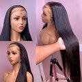 Парик 13x4 из человеческих волос на сетке спереди, предварительно выщипанные бразильские прямые волосы без повреждений, 28 Дюймов, 30 дюймов, 150%...