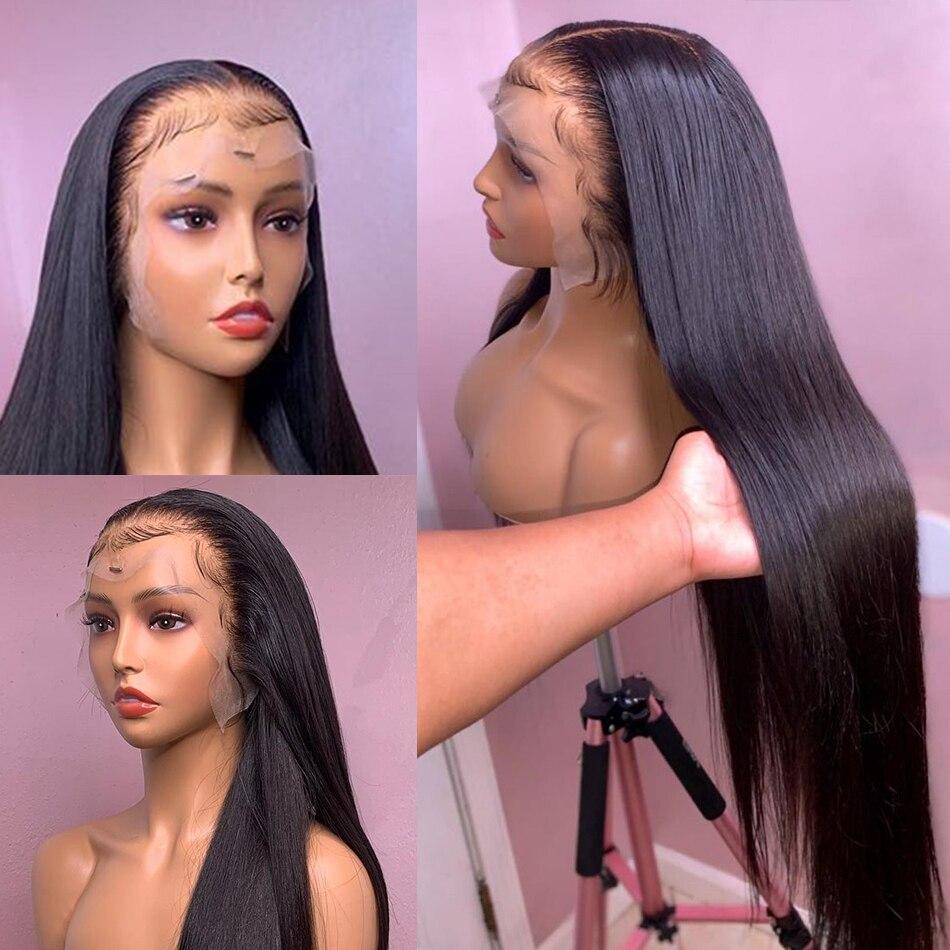 Парики из человеческих волос на сетке спереди 13x4, предварительно выщипанные бразильские прямые волосы Remy 28, 30 дюймов, парик на сетке спереди...