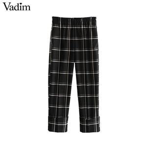 Image 2 - Vadim damskie stylowe kratki proste stylowe spodnie kieszenie w pasie kobiece dorywczo eleganckie spodnie do kostek mujer KB202