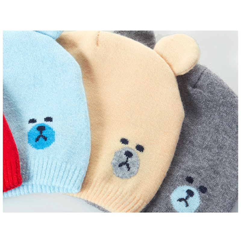 Newly Baby Winter Caps Scarf Suits Warm Knitted Beanie Cap Cute Cartoon Bear Beanie FIF66