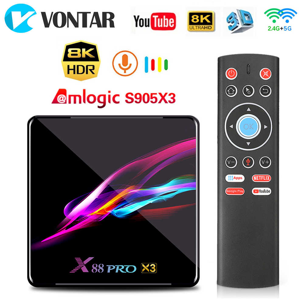 X88 PRO X3 Android 9.0 TV Box Amlogic S905X3 4GB 128GB 1080p 8K Dual Wifi Google lettore Netflix Youtube Vocale Intelligente Set top Box