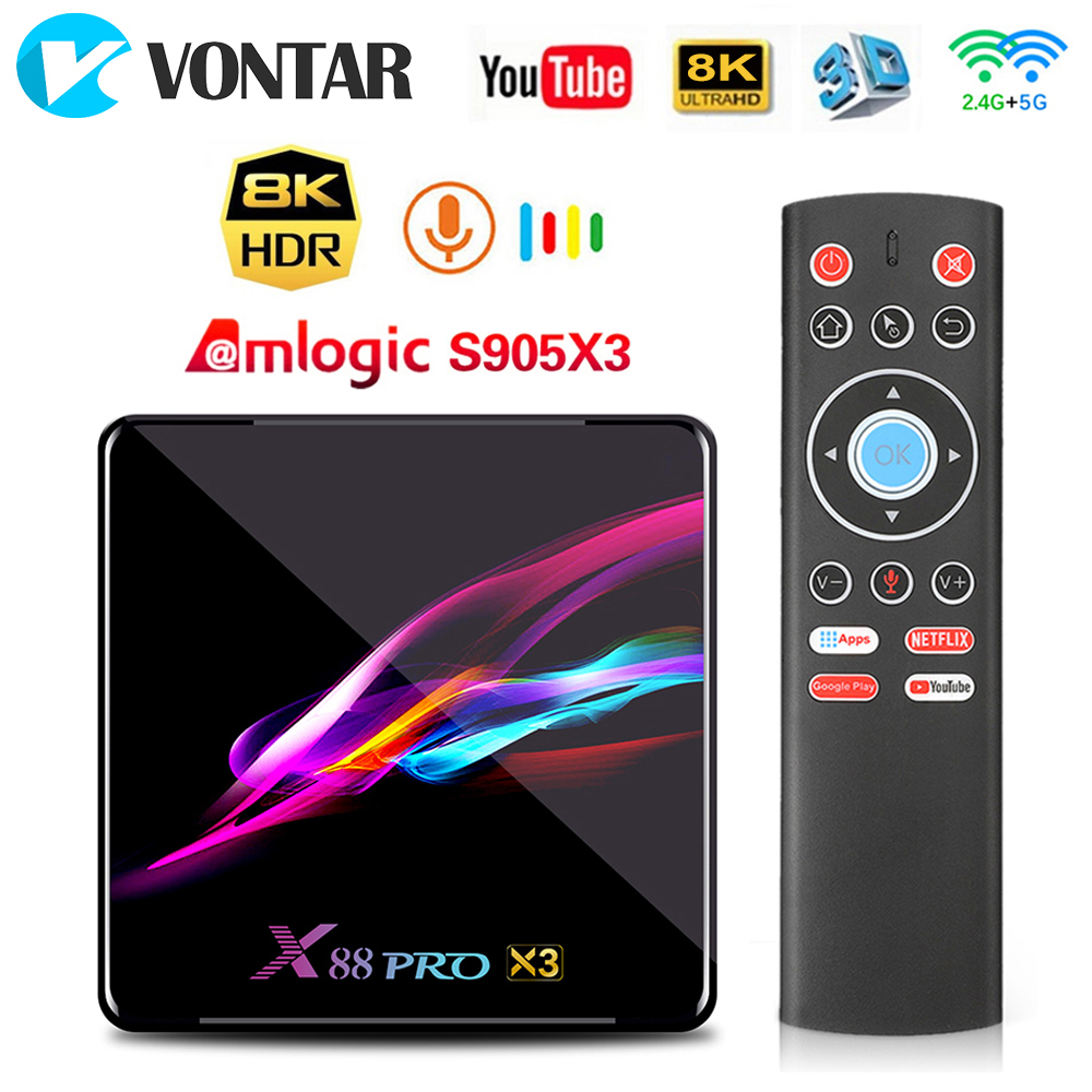 X88 PRO X3 Android 9.0 TV Box Amlogic S905X3 4GB 128GB 1080p 8K Dual Wifi Google Player Netflix Youtube Voice Smart Set Top Box