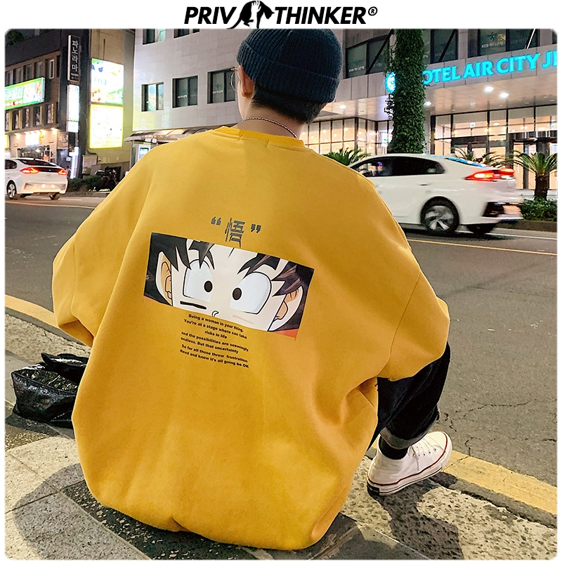 Privathinker Men Autumn Winter Carton Print Sweatshirts Mens Loose Harajuku Coat Hoodies Male Thicken O-Neck Pullopver Tops 2019