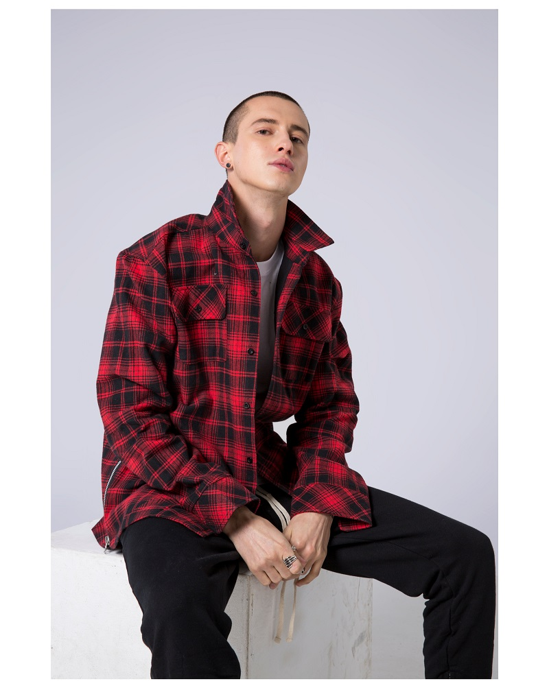 Chic Plaid Shirt Male Long Sleeve Loose Falling Shoulder Shirt Ins Super Popular Jacket Tide Shirts