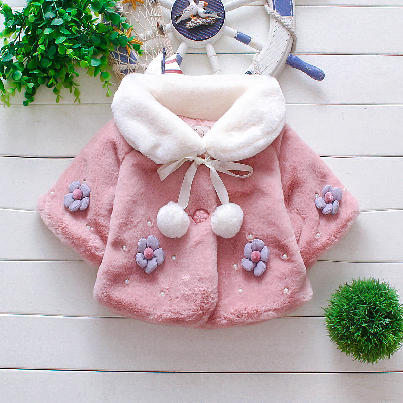 2019 Autumn Winter Baby Coats Kids Jackets For Girls Shawl Cute Flower Toddler Outerwear Baby Girl Clothes Infant Clothing