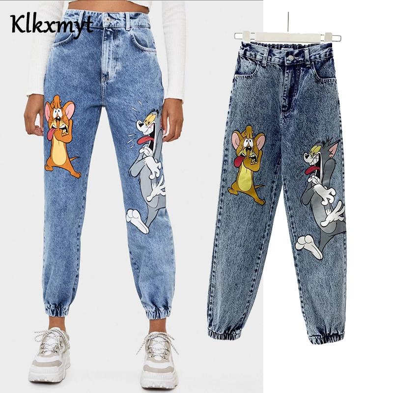 Pantalon taille haute pour femmes, jean Style anglais, Denim Vintage, imprimé de dessins animés de chat et souris, collection décontracté | AliExpress